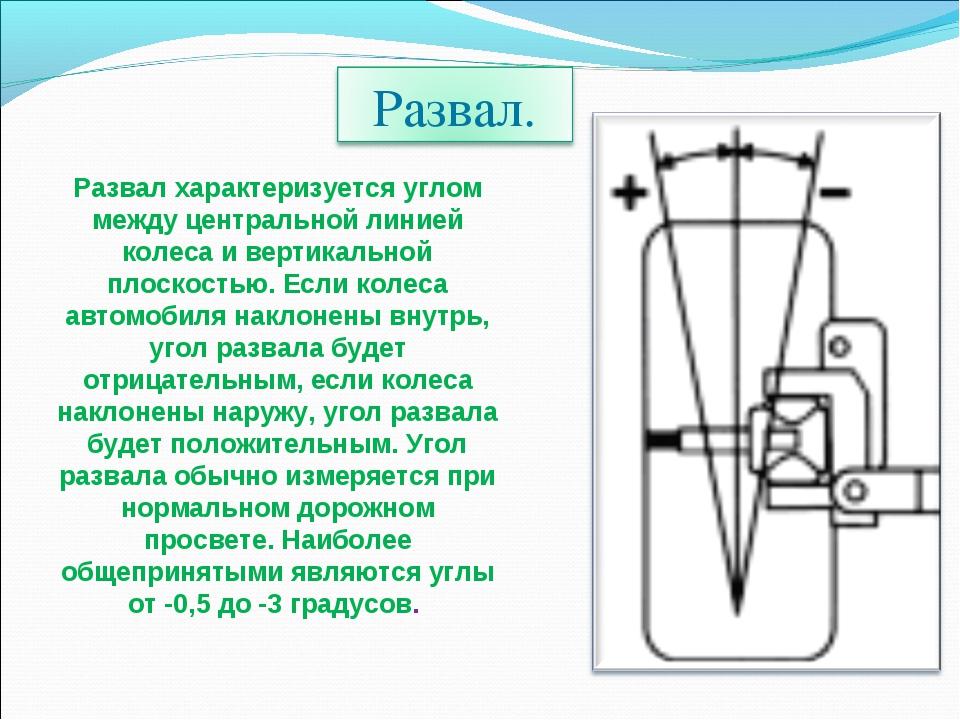 Развал характеризуется углом между центральной линией колеса и вертикальной п...