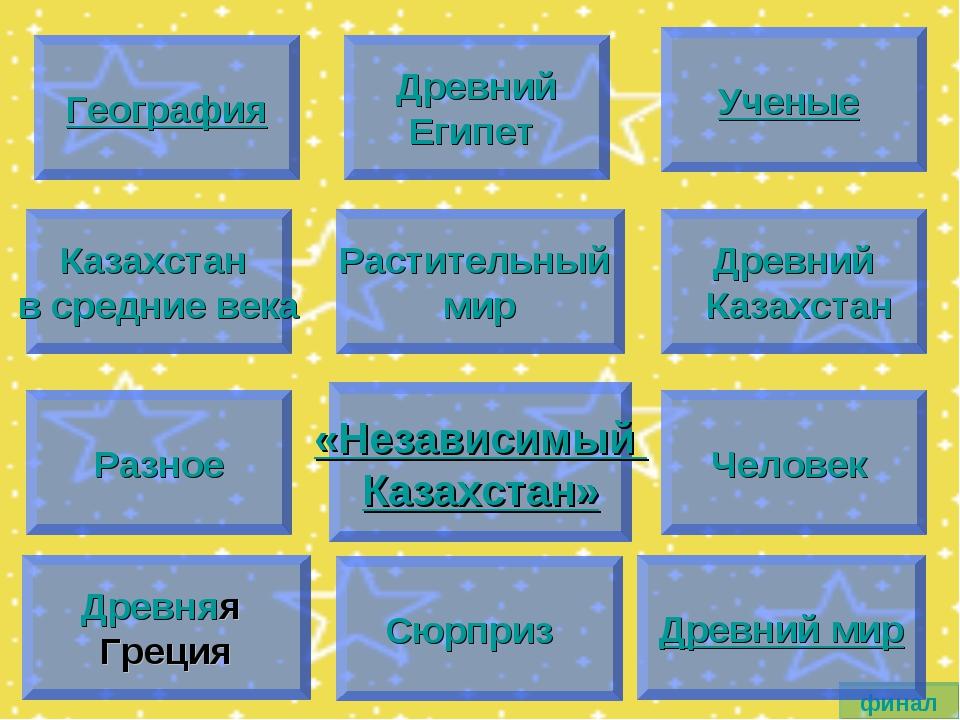 География финал Древний Египет Ученые Казахстан в средние века Растительный м...