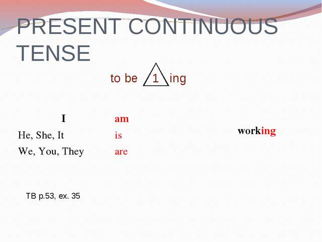 PRESENT CONTINUOUS TENSE to be 1 ing TB p.53, ex. 35 I	am	 working He, She, I...
