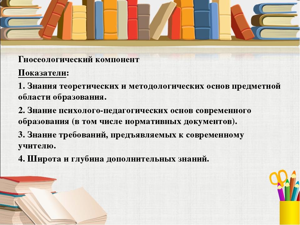 Гносеологический компонент Показатели: 1. Знания теоретических и методологиче...