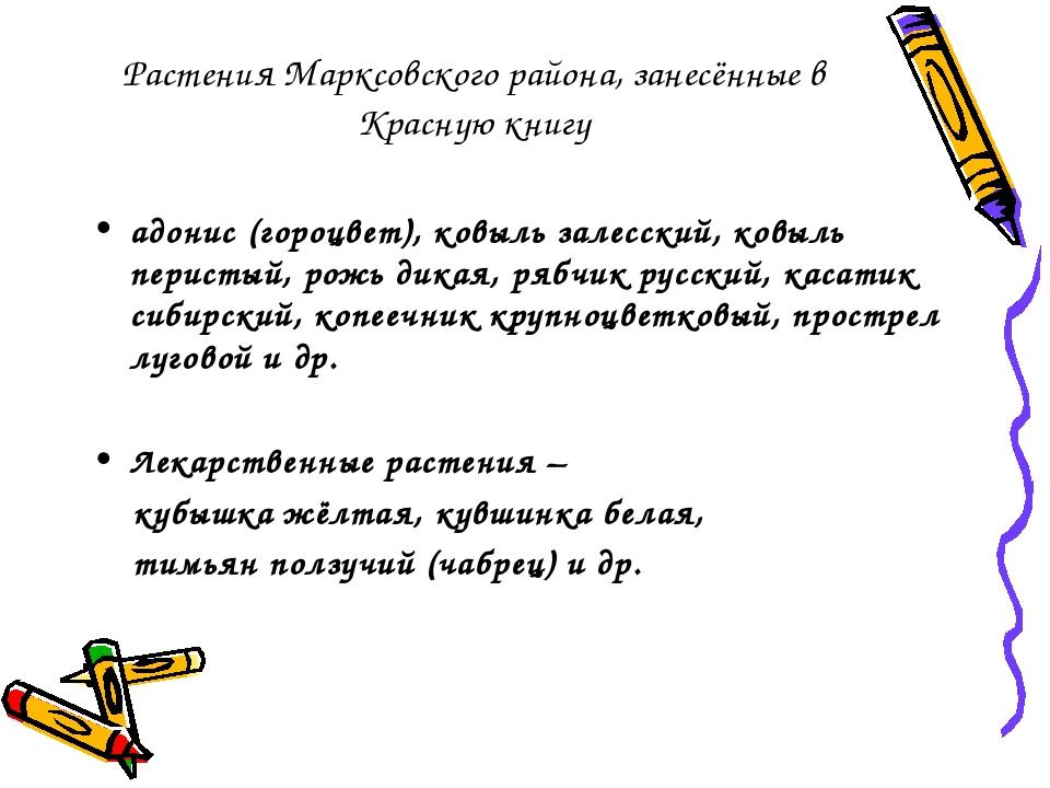 Растения Марксовского района, занесённые в Красную книгу адонис (гороцвет), к...