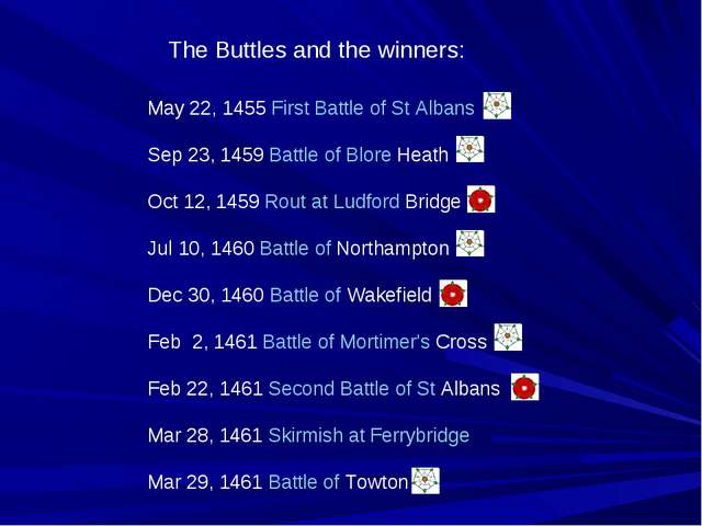 May 22, 1455 First Battle of St Albans Sep 23, 1459 Battle of Blore Heath Oct...
