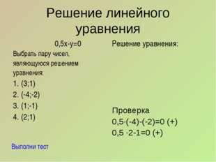 Решение линейного уравнения 0,5х-у=0 Выбрать пару чисел, являющуюся решением