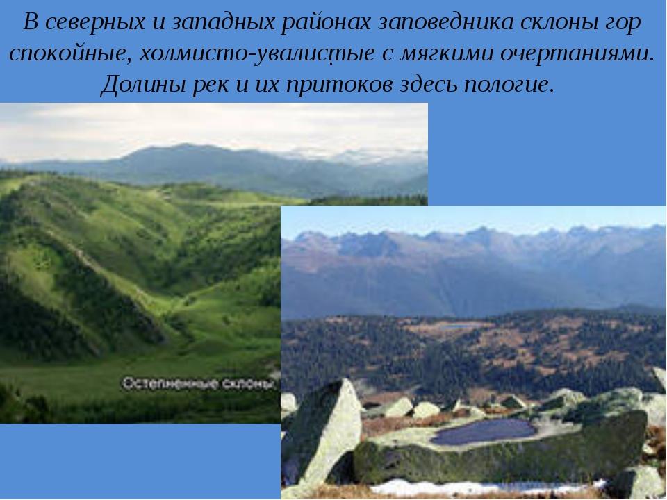 . В северных и западных районах заповедника склоны гор спокойные, холмисто-ув...