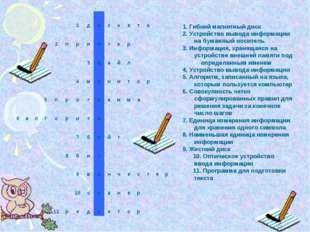 1. Гибкий магнитный диск 2. Устройство вывода информации на бумажный носитель