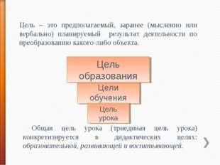 Цель – это предполагаемый, заранее (мысленно или вербально) планируемый резул