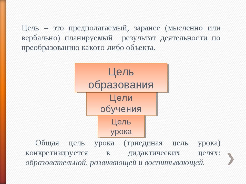 Цель – это предполагаемый, заранее (мысленно или вербально) планируемый резул...