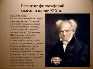 Развитие философской мысли в конце XIX в. А. Шопенгауэр Смысл жизни человека