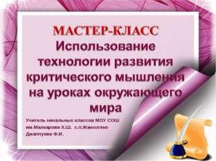 Учитель начальных классов МОУ СОШ им.Малкарова Х.Ш. с.п.Жанхотеко Джаппуева