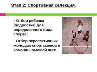 Этап 2: Спортивная селекция. Отбор ребенка (подростка) для определенного вида