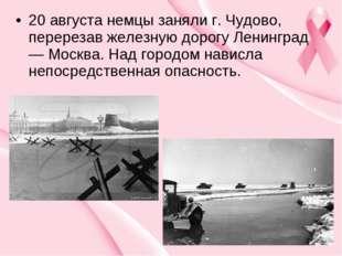 20 августа немцы заняли г. Чудово, перерезав железную дорогу Ленинград — Моск