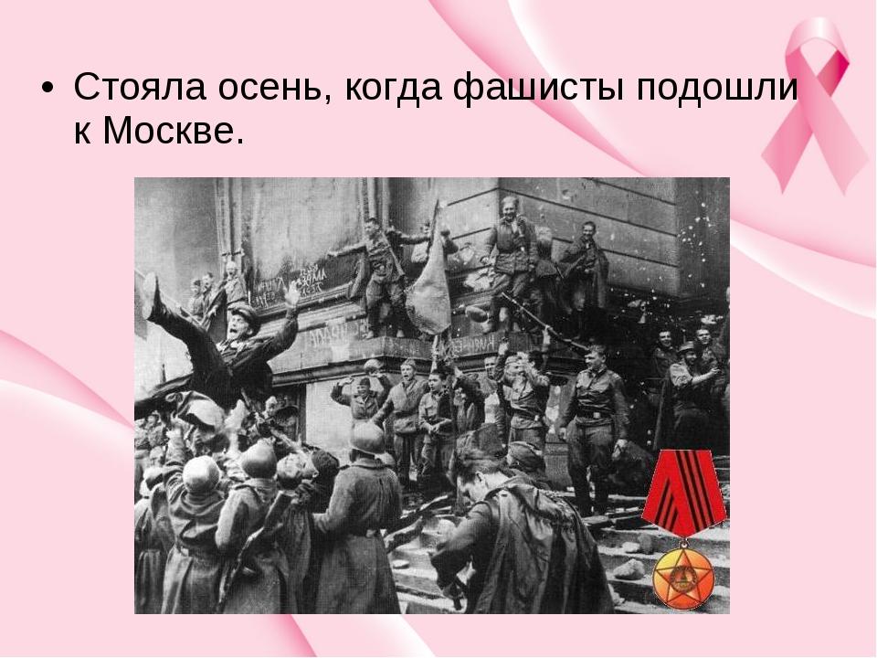 Стояла осень, когда фашисты подошли к Москве.