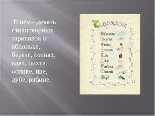 В нём - девять стихотворных зарисовок о яблоньке, берёзе, соснах, елях, пихт