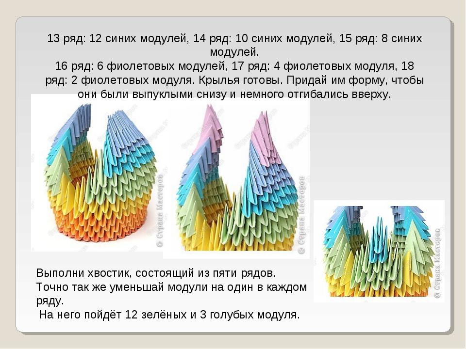 13 ряд: 12 синих модулей, 14 ряд: 10 синих модулей, 15 ряд: 8 синих модулей....