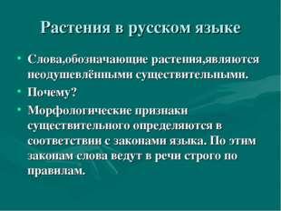 Растения в русском языке Слова,обозначающие растения,являются неодушевлёнными