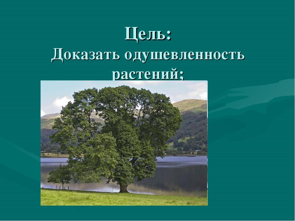 Цель: Доказать одушевленность растений;