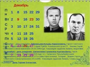 Декабрь 20 декабря – день рождение Афанасьева Кузьмы Кирилловича, Героя Совет