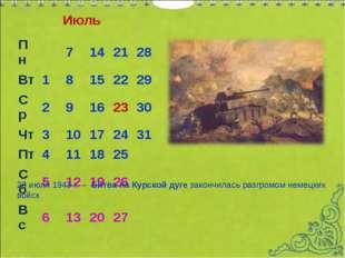 Июль 23 июля 1943 г.– Битва на Курской дуге закончилась разгромом немецких