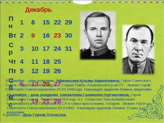 Декабрь 20 декабря – день рождение Афанасьева Кузьмы Кирилловича, Героя Совет...