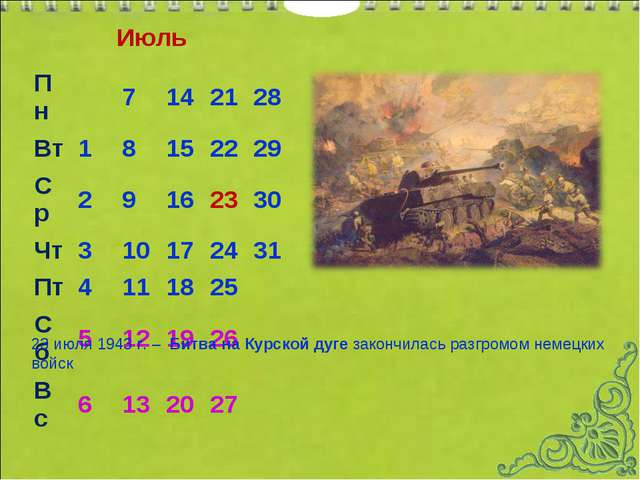 Июль 23 июля 1943 г.– Битва на Курской дуге закончилась разгромом немецких...