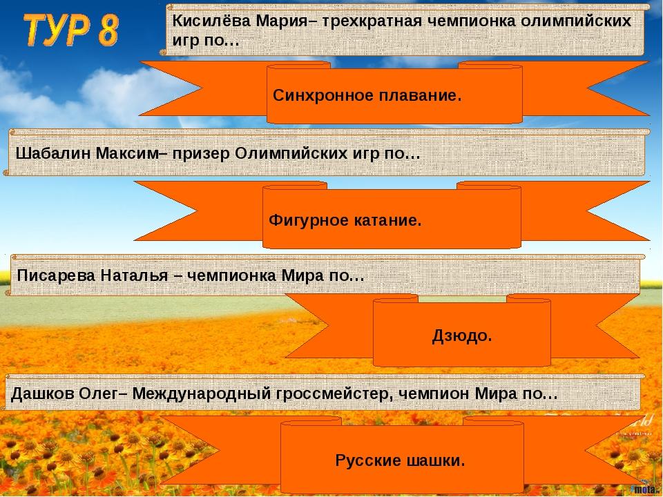 Шабалин Максим– призер Олимпийских игр по… Кисилёва Мария– трехкратная чемпио...