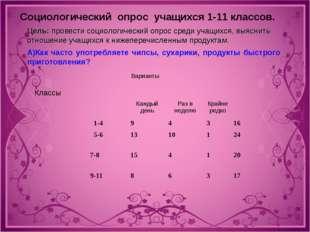 Социологический опрос учащихся 1-11 классов. Цель: провести социологический
