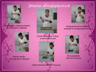 Этапы обнаружения Растворение и фильтрование исследуемого образца Взятие проб