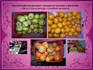 Фактический ассортимент продуктов питания в магазине « № 1» ( после беседы с
