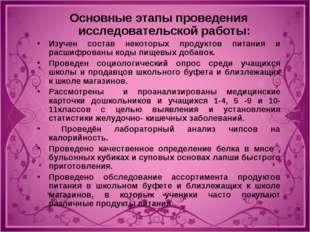 Основные этапы проведения исследовательской работы: Изучен состав некоторых