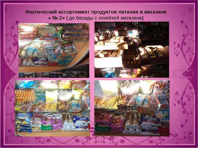 Фактический ассортимент продуктов питания в магазине « № 2» ( до беседы с хоз...