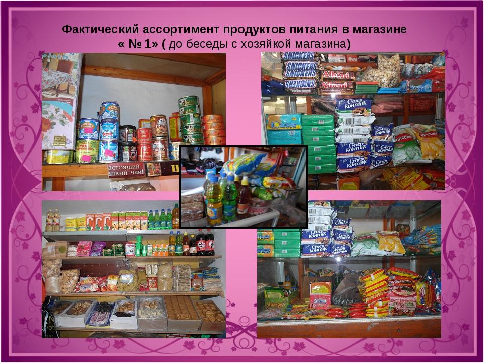Фактический ассортимент продуктов питания в магазине « № 1» ( до беседы с хоз...