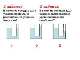 2 задание В каком из сосудов 1,2,3 указано правильно расположение уровней жид