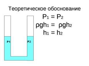 Теоретическое обоснование Р1 = Р2 ρgh1 = ρgh2 h1 = h2