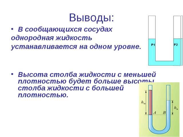 Выводы: В сообщающихся сосудах однородная жидкость устанавливается на одном у...