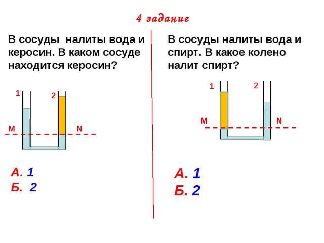 4 задание В сосуды налиты вода и керосин. В каком сосуде находится керосин? В...
