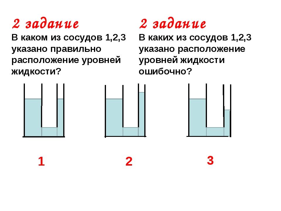 2 задание В каком из сосудов 1,2,3 указано правильно расположение уровней жид...