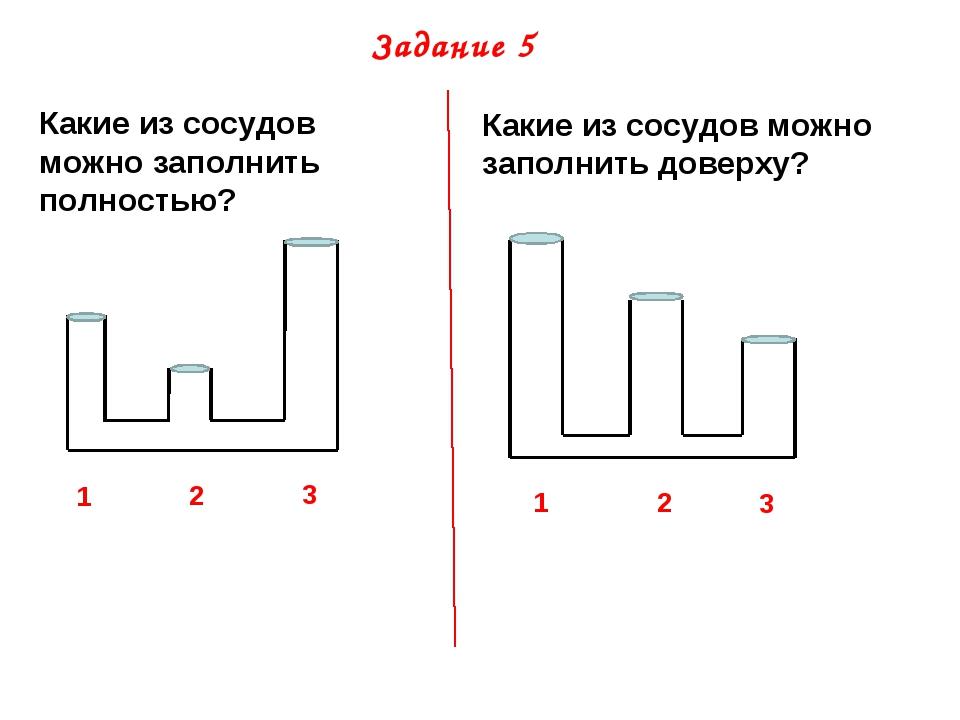Задание 5 Какие из сосудов можно заполнить полностью? 1 2 3 Какие из сосудов...