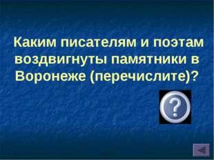 Каким писателям и поэтам воздвигнуты памятники в Воронеже (перечислите)?