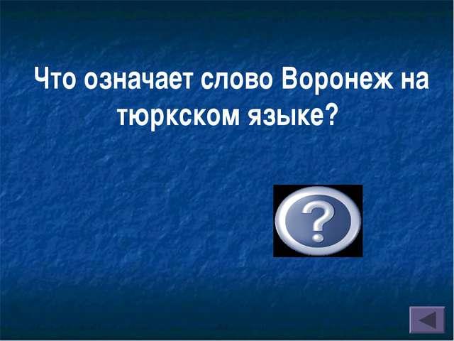 Что означает слово Воронеж на тюркском языке? « большая вода в большой долине»