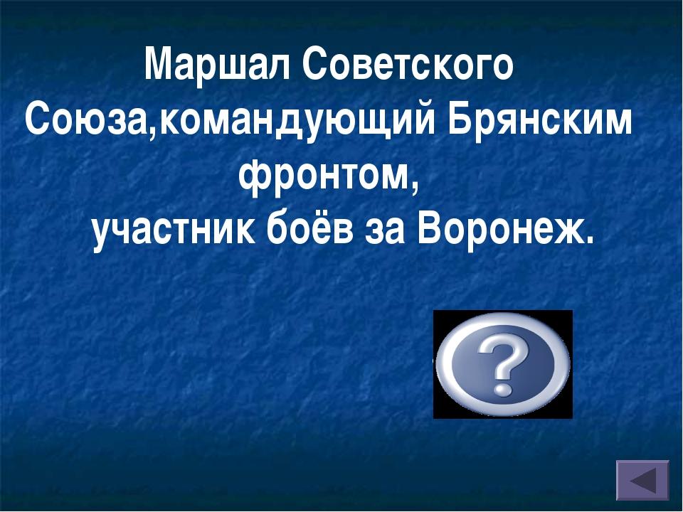 Маршал Советского Союза,командующий Брянским фронтом, участник боёв за Вор...