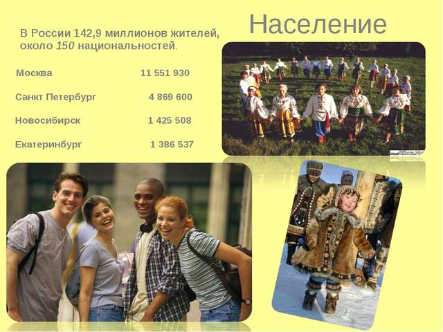 Население В России 142,9 миллионов жителей, около 150 национальностей. Москв...