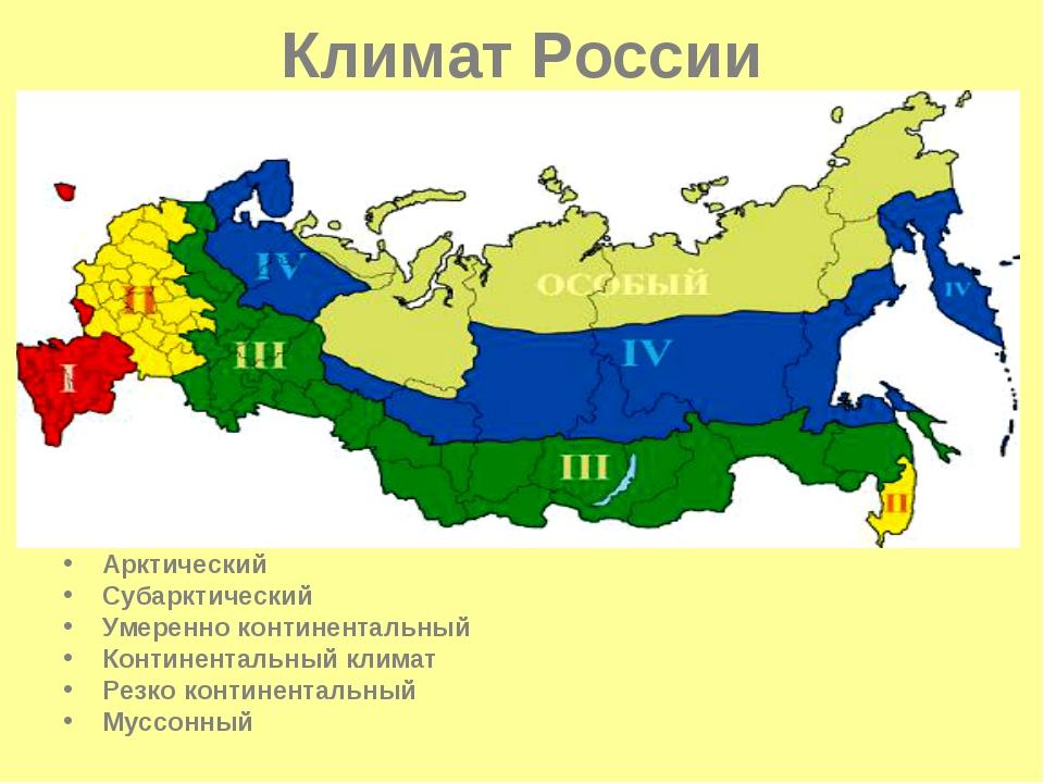 Климат России Арктический Субарктический Умеренно континентальный Континентал...