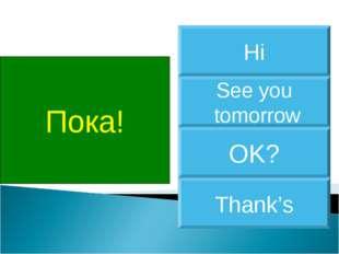 Пока! See you tomorrow Hi OK? Thank's