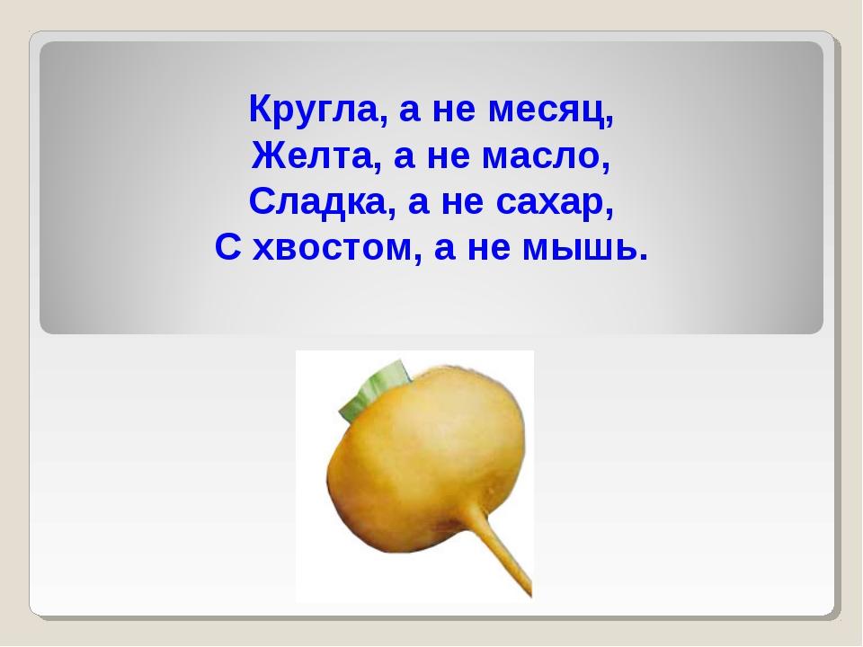 Кругла, а не месяц, Желта, а не масло, Сладка, а не сахар, С хвостом, а не мы...
