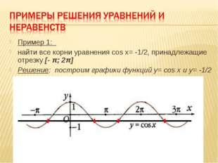 Пример 1: найти все корни уравнения cos x= -1/2, принадлежащие отрезку [- π;