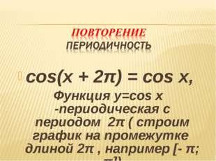 cos(x + 2π) = cos x, Функция y=cos x -периодическая с периодом 2π ( строим гр