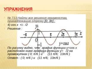 № 713.Найти все решения неравенства, принадлежащие отрезку [0; 3π] : 4) cos x