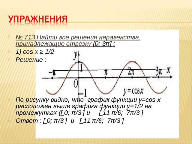 № 713.Найти все решения неравенства, принадлежащие отрезку [0; 3π] : 1) cos x...