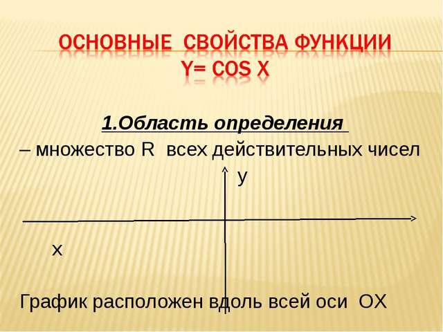 1.Область определения – множество R всех действительных чисел y x График расп...