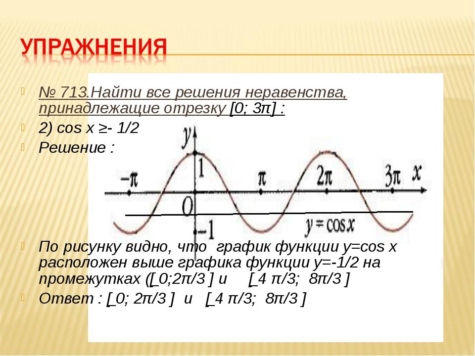 № 713.Найти все решения неравенства, принадлежащие отрезку [0; 3π] : 2) cos x...